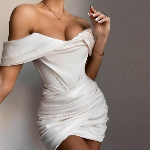 EBUYTIDE Lady New Satin Corset Dress Sexy Off Shoulder Celebrity Party Wear Chic Bodycon Wrap Ruched Dress Boned Bustier Dresses