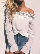 Casual Boat Neck Long-Sleeve Hollow Out Lace Blouse