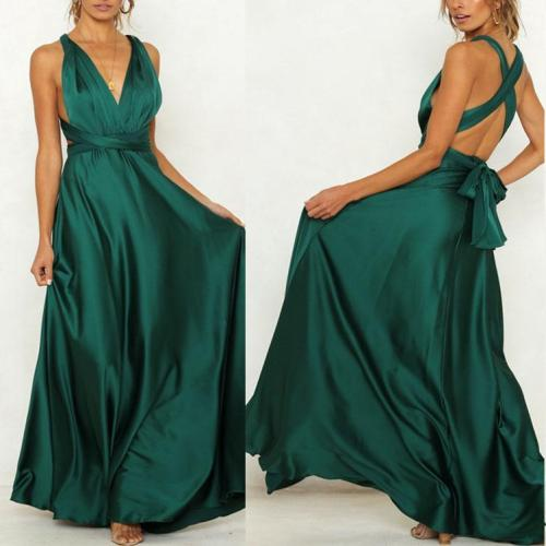 V-Neck Sexy Backless Solid Color Straps Big Swing Maxi Dress