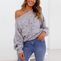 Sloping Shoulder Hollow Out Sweater