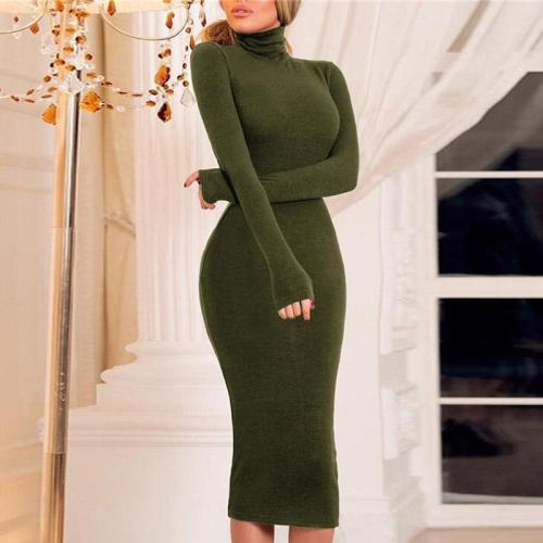 Solid Color Turtleneck Tight Knit Dress