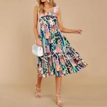 Fashion suspender print retro dress