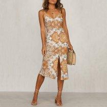 Strap print stitching vacation casual dress