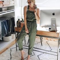 EBUYTIDE Casual Solid Color Sling Jumpsuit