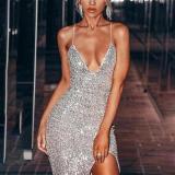 Sexy High Slit Silver Sequin Evening Dress