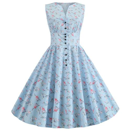 Summer Dress 2020 Robe Femme Floral Print 50s 60s Retro Vintage Dress Women V-neck Rockabilly Swing Pinup Vestidos Knee length