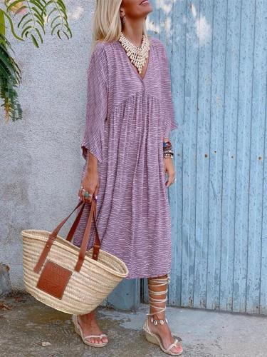 V-neck Casual Versatile Printed Long-sleeved Casual Maxi Dress