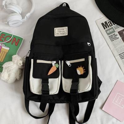 Trendy College Women Cute Backpack Nylon Female School Bag Lady Badge Book Kawaii Backpack Fashion Student Girl Bag Harajuku New
