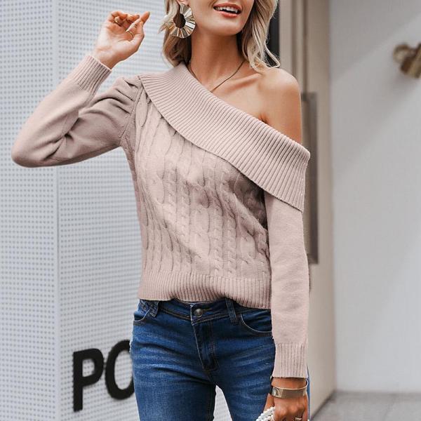EBUYTIDE Elegant one shoulder knitted sweater women Asymmetrical puff sleeve pullovers female Ladies autumn winter sweaters 2020