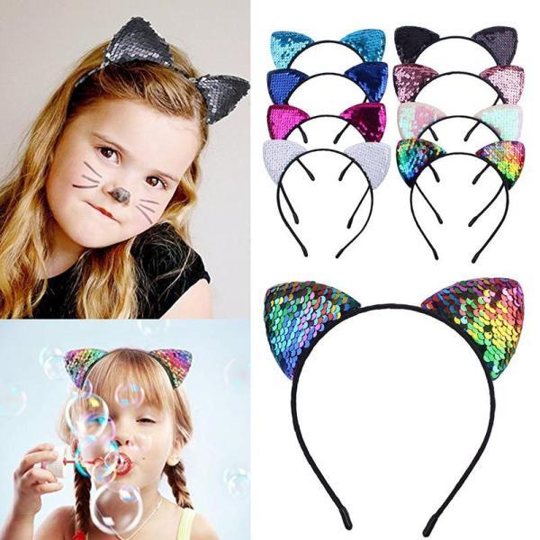 New flip sequin cat ears cute headband children birthday party headband hair band girl headdress