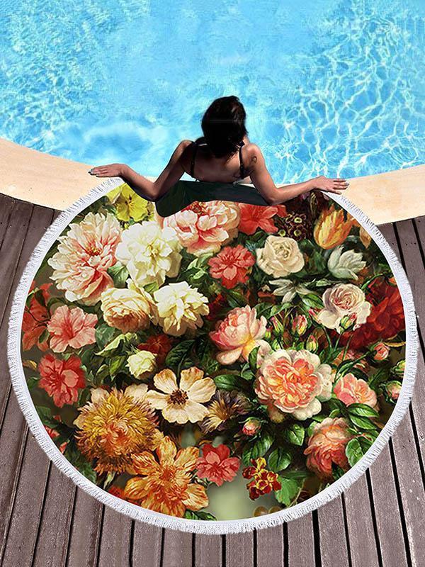 Oil Painting Flowers Beach Mats