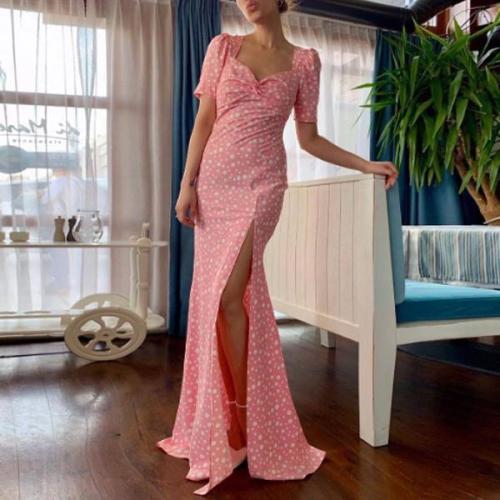 Polka-Printed Split Sexy Dress
