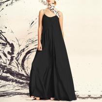 Elegant Round Neck Pleated Sleeveless Off-Shoulder Dress