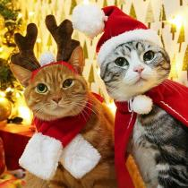 Christmas Pet Dog Cat Santa Red Scarf Cap Cloak Headband Pet Dog Winter Christmas Party  New Year Clothes Cosplay Costume Gift