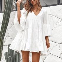 V-Neck Loose Pleated Split Mini Dress