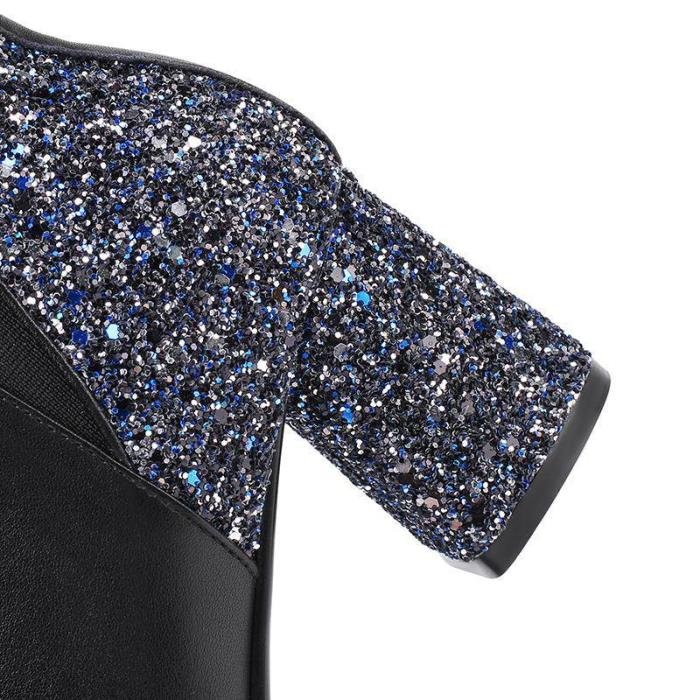 Women's Fashion Solid Color Sequined Ankle Boots