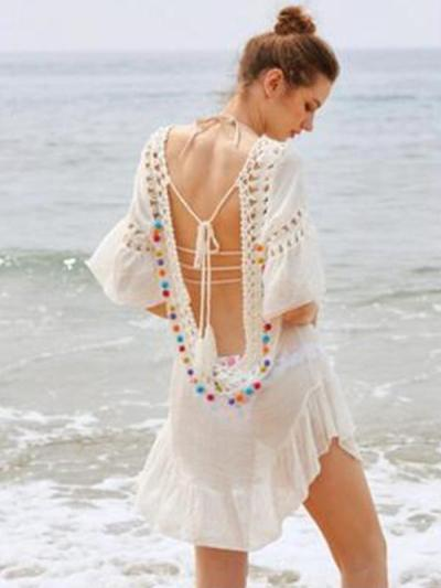Pompoms Hollow Backless Cover-Ups Swimwear