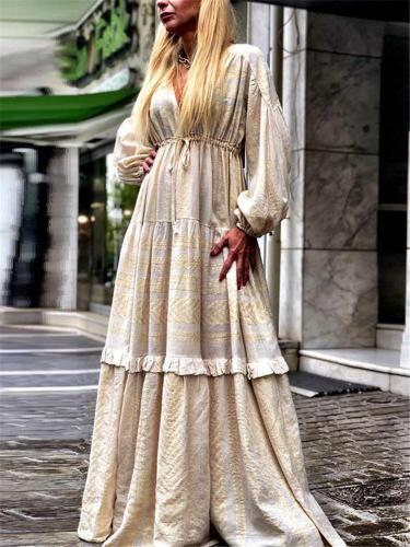 Sexy V-neck Long Sleeve Casual Maxi Dress