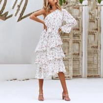 One shoulder irregular layered print pattern dress