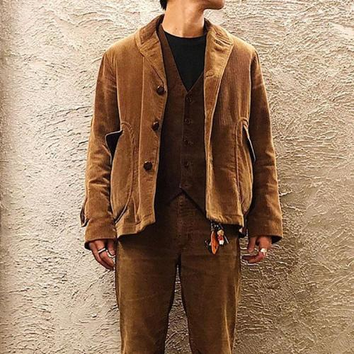 VintageFlap Pockets Pure Colour Jacket