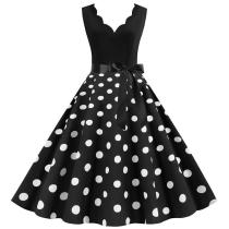 White Polka Dot Vintage Women Summer Dress Pinup V neck Rockabilly Party Dresses Knee-Length Vestidos Plus size XXXL Robe Midi