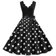 White Polka Dot Vintage Women Summer Dress Pinup V neck Rockabilly Party Dresses Knee-Length Vestidos Plus size XXXL Robe Midi