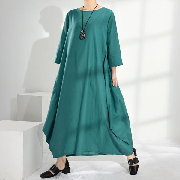 EBUYTIDE 2020 New Summer And Autumn Women Vintage Loose High Waist Linen Elegant Solid Color Big Size Maxi Dress