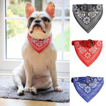 Pet Bandanas Collar for Dogs Cats Adjustable PU Leather Triangular Bibs Scarf Collar with Paisley Pattern for Puppy Accessories