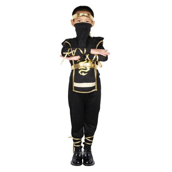 Kids Ninja Costume Boys Japanese Warrior Outfit Halloween Bodysuit Outfit Black