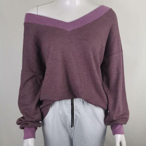 Solid Color V-Neck Loose Long-Sleeved Top
