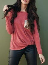 Twisted Sequin Pocketed Tunic Tops