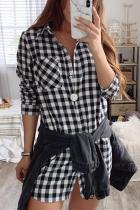 Casual Sexy Lapel   Button Grid Long Sleeved Mini Dress