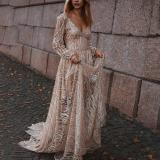 Sexy Deep V Long Sleeve Dress