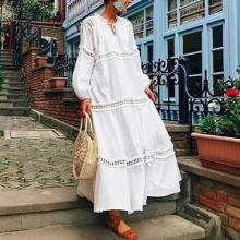 V Neck Lantern Sleeve Hollow Out Vacation Dress