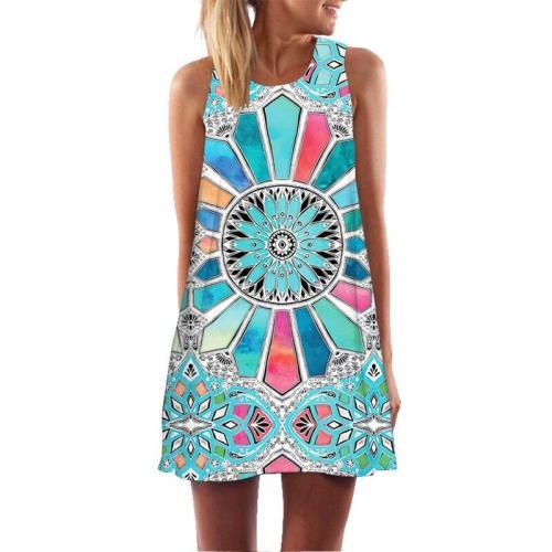 Women Mini A-Line Dress Froal Butterfly Dot Print Summer Short 3D Dress Casual Chiffon Dresses Boho Beach Sleeveless Dress