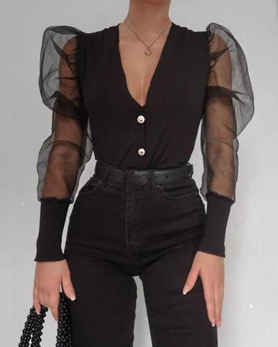 V Neck Mesh Sleeve Button-Up Top
