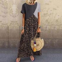 Casual Animal Printed Patchwork Maxi Dress