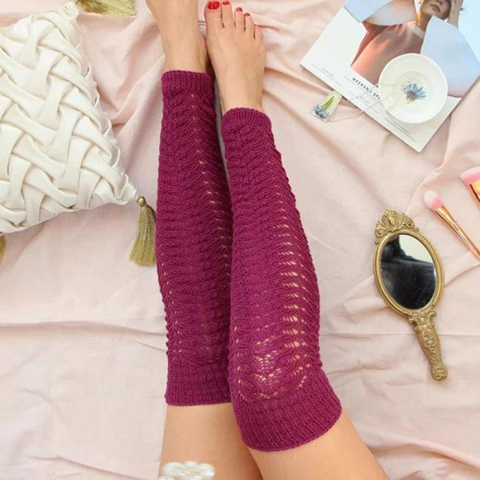 Pure Color Mid Length   Stocking Over Knee Socks