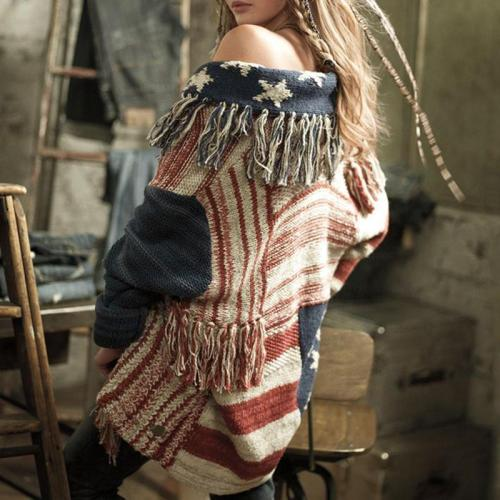 Fashion Fringe   Cardigan With A Star-Striped Knit Sweater