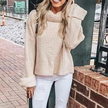 Turtleneck Long Bell Loose Sleeves Women Loose Sweater