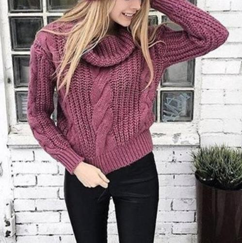 Casual Pure Colour Loose Long Sleeve Sweater
