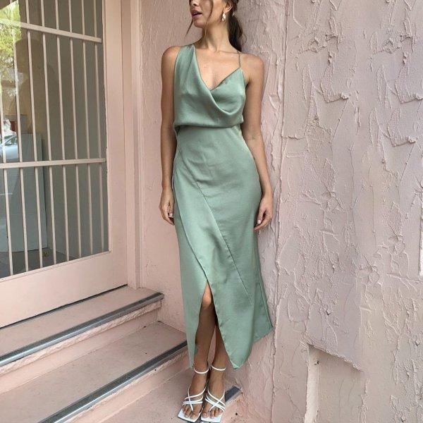 Sexy V Neck Slit Green Dress
