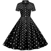 Polka Dot Rockabilly Dress Retro Vintage 50s 60s Pinup Office Dresses Buttons Short Sleeve Women Summer Dress 2020 A Line Party