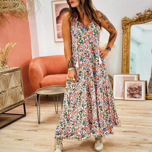 Flowing Floral Print Spaghetti Straps Sleeveless Maxi Dress