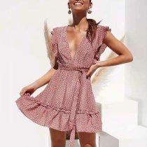 Ruffled Sleeveless V-Neck Print Dress