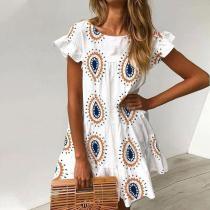 Chic Round Neck Printed Vacation Dress