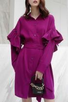 Fashion Ruffled Square Neck Bishop Sleeve Mini Dresses