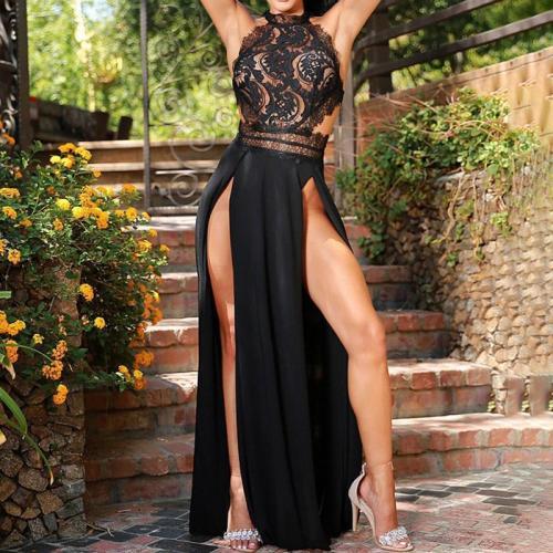 Fashion Elegant Halter Lace Backless Evening Dress