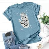 Five-finger Poker T-shirt Loose Casual Short Sleeve