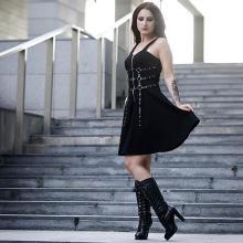 Sexy Gothic women's dress eyelet web zipper harajuku rock black mini dresses Summer 2019 sleeveless backless A-line punk AD